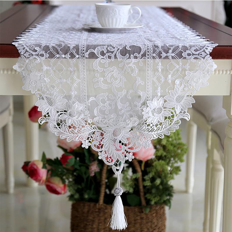 新款簡約歐式蕾絲紗桌旗 純白色現代美式裝飾 桌旗布長度可定製