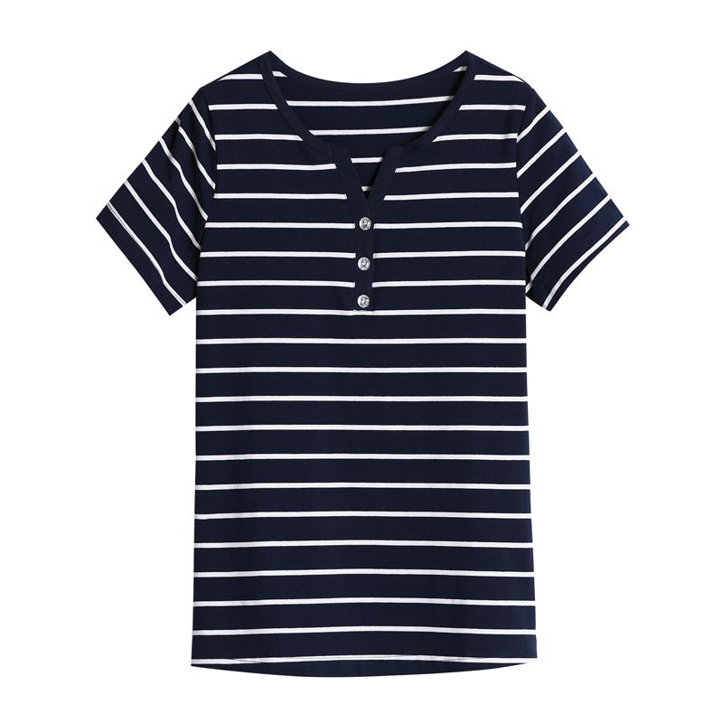 纯棉短袖t恤女上衣中年妈妈夏装2021新款中老年半袖大码横条纹t桖主图