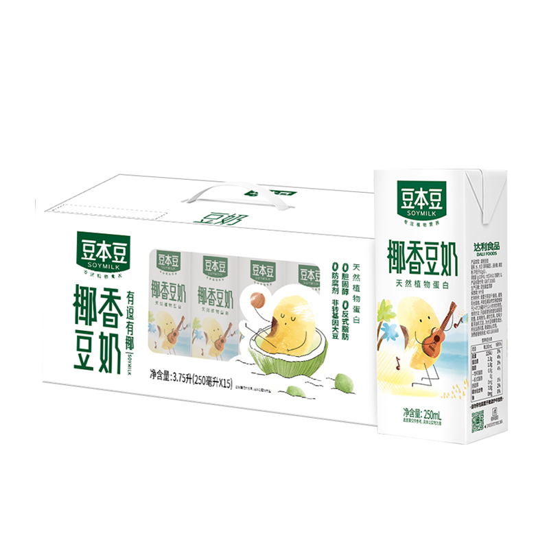 88VIP:SOYMILK 豆本豆 椰香豆奶 250ml*15盒*4件
