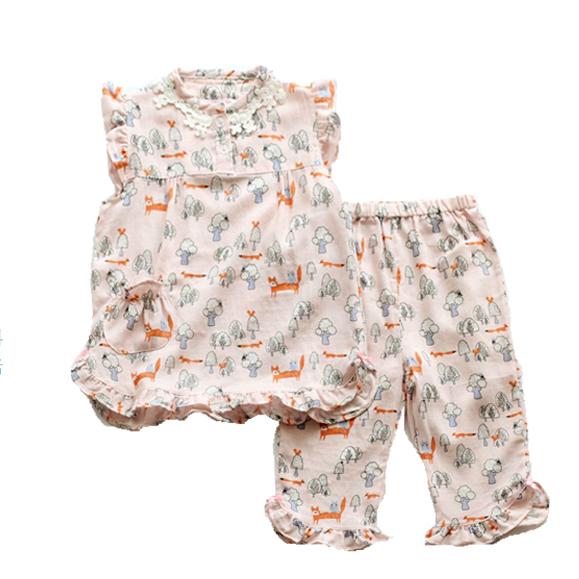 粉色狐狸2套包郵夏款超薄透氣女童孩短袖短褲純棉紗布睡衣家居服