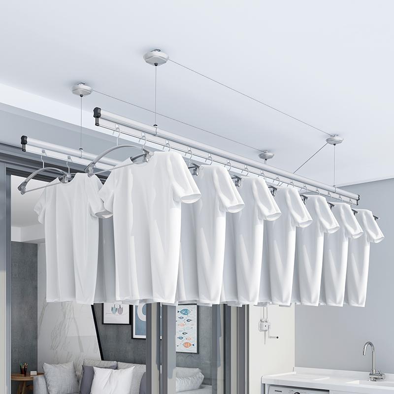 手摇自动升降晾衣架阳台双杆式晾衣杆晒加厚家用晒被架包安装 11 双