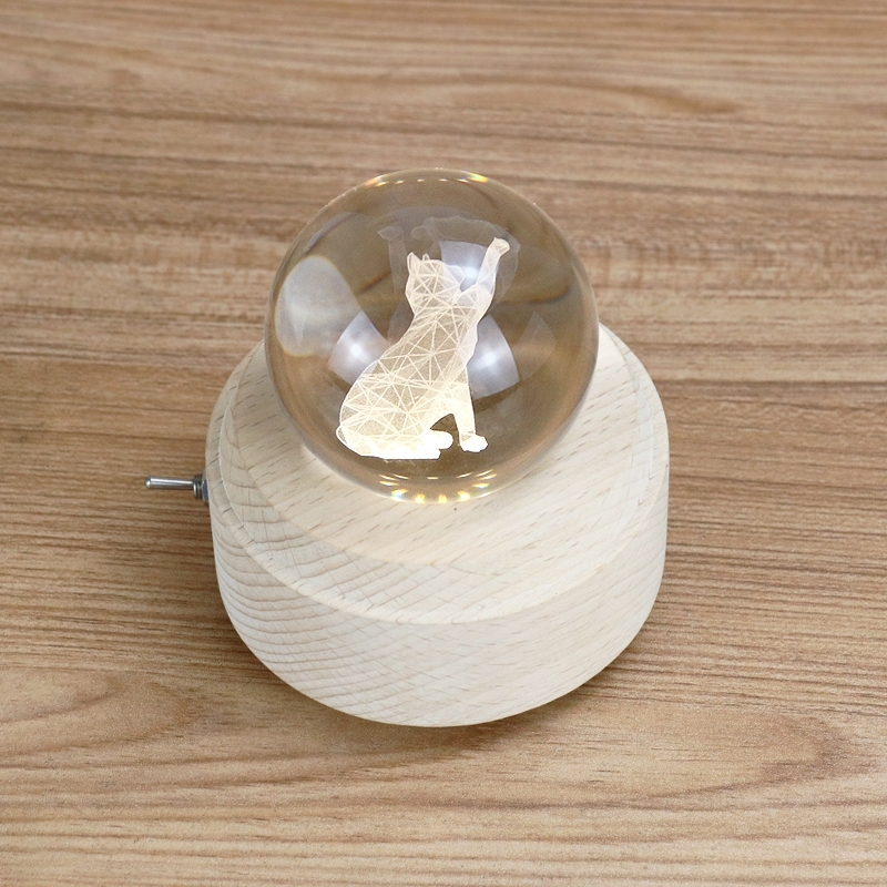 音乐盒木质猫咪八音盒水晶球创意生日儿童礼物送女生闺蜜