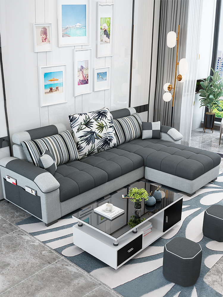 简约现代布艺沙发小户型三人客厅整装拆洗家具布沙发租房组合套装