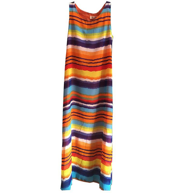 维绯新款雪纺海边度假沙滩裙波西米亚长裙宽松大码七彩条纹连衣裙