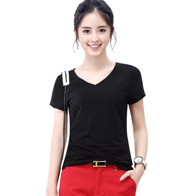 艾路丝婷2019夏装女装白色半袖体恤纯色V领修身短袖黑色T恤女上衣