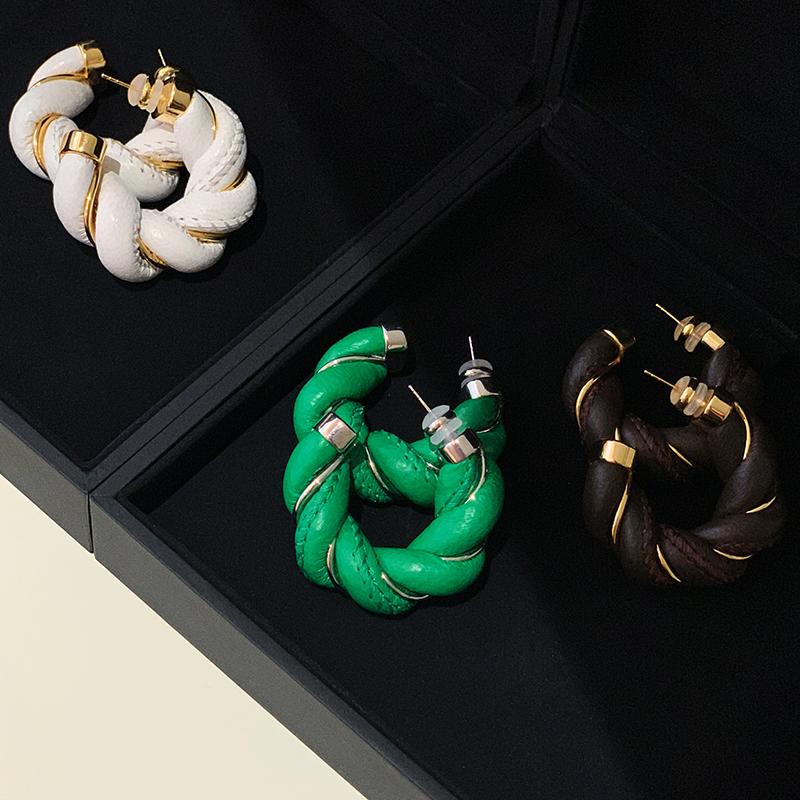 银针耳钉潮 欧美时髦麻花编织缠绕羊皮圆圈耳环女气质  BOONEE s925
