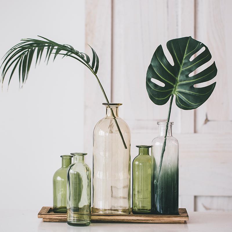 米子家居田園五聯玻璃花瓶水培小花瓶透明玻璃綠蘿花瓶花器木底座