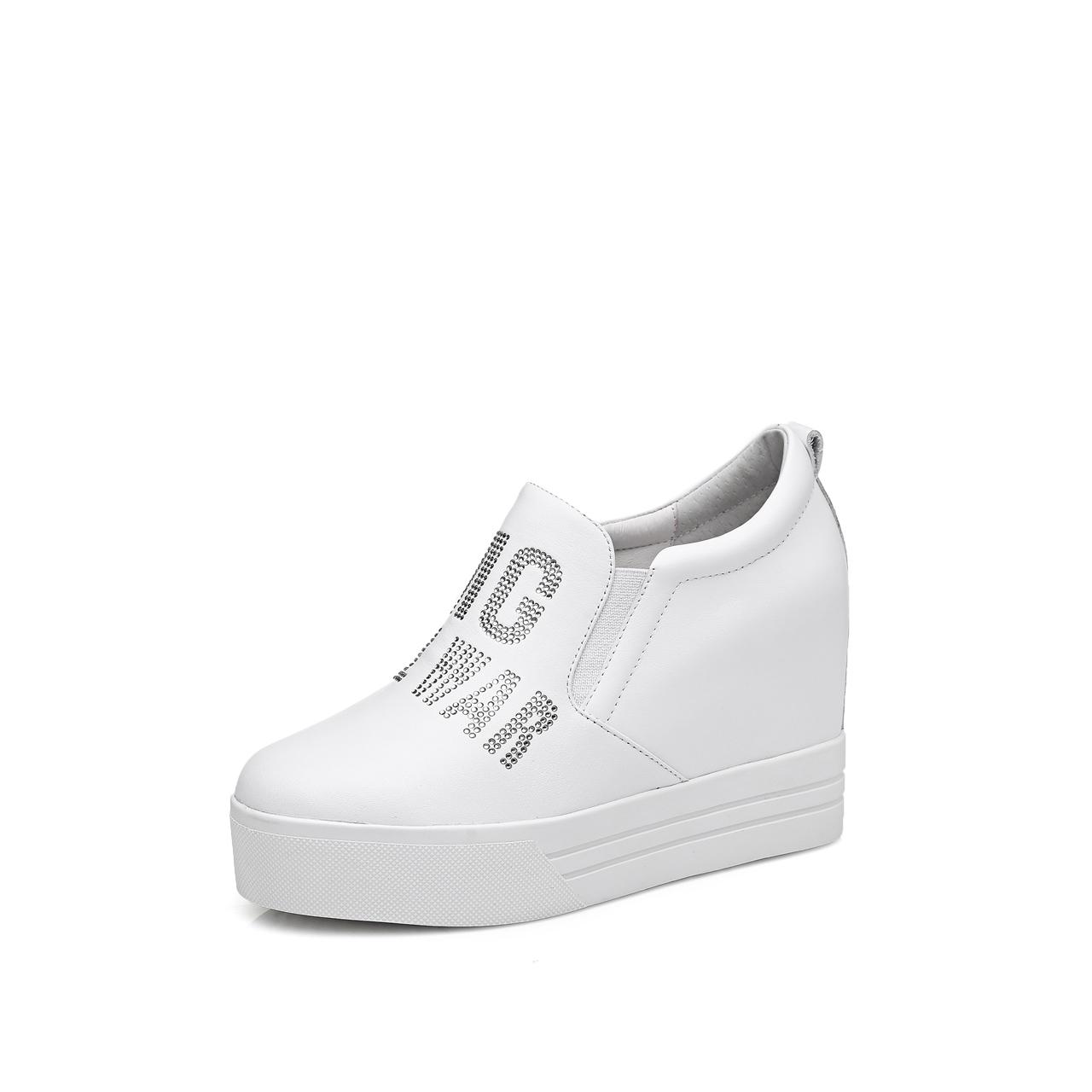 夏季镂空内增高女鞋8cm 韩版百搭一脚蹬透气休闲高帮鞋小皮鞋女