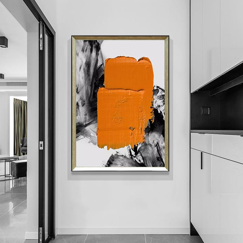 純手繪抽象油畫玄關客廳黑白輕奢裝飾畫酒店餐廳臥室豎版手工掛畫