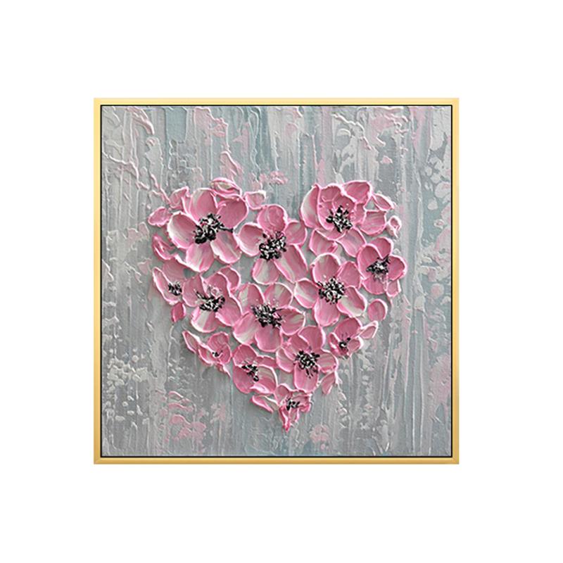 手繪粉色心形油畫客廳玄關床頭臥室裝飾畫輕奢酒店咖啡館手工掛畫