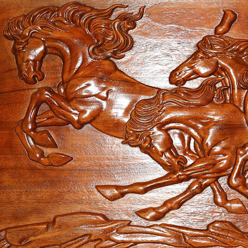 东阳木雕 中式仿古实木雕刻牌匾 八骏图横屏风挂件 客厅背景订做