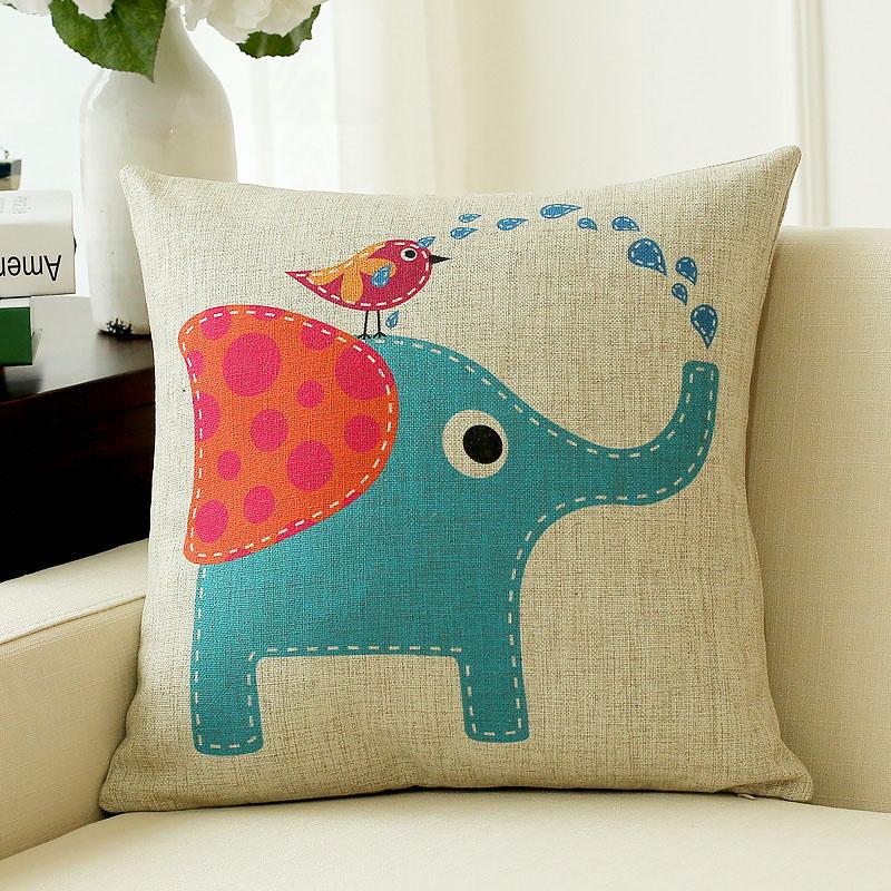 可愛卡通大象臥室抱枕棉麻布藝靠墊沙發靠背辦公靠枕禮物枕套床上