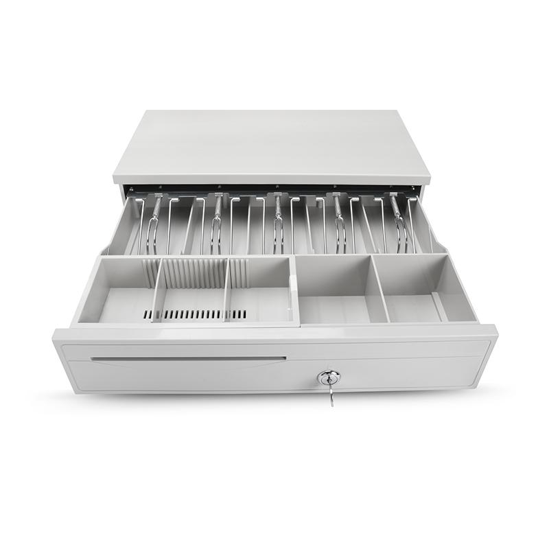 白色大钱箱 二维火收银机收款收银钱箱 钱柜钱盒子带锁 五格三档
