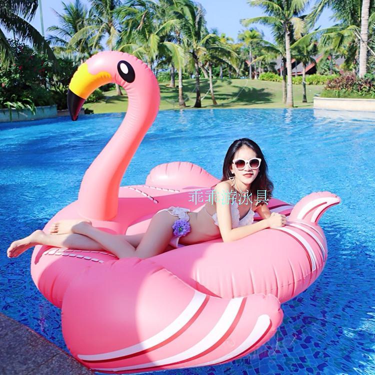 190CM火烈鳥浮床充氣成人網紅游泳圈水上度假坐騎浮排粉天鵝水泡