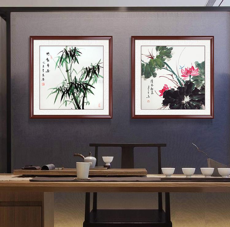 竹报平安斗方形彩竹子墨竹餐厅玄关水墨装饰画纯手绘已装裱加框画