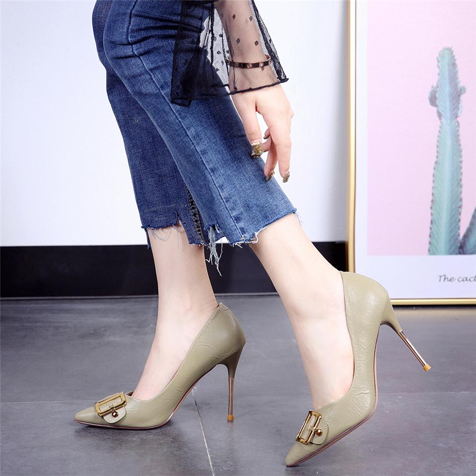米色职业高跟鞋女 ol 秋季新款韩版尖头气质皮带扣金属细跟单鞋 2019