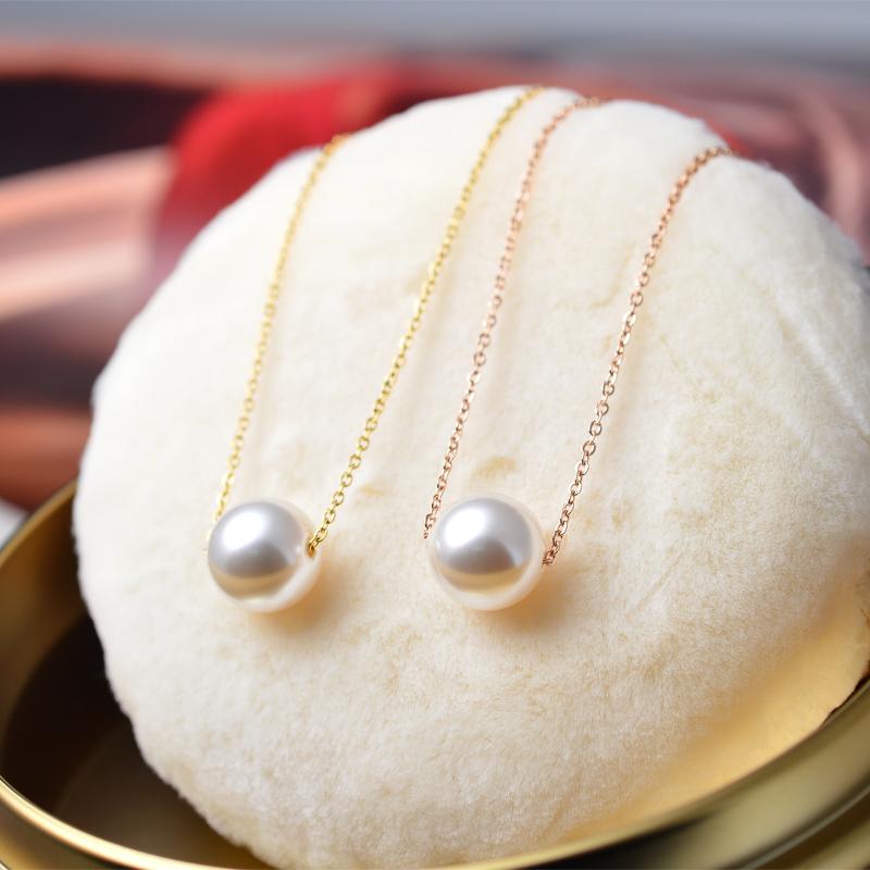 简约百搭一颗珍珠项链锁骨链女韩版气质个性钛钢玫瑰金网红不掉色