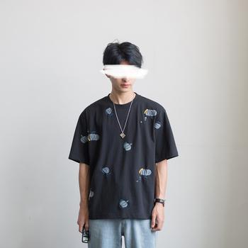初熟的南瓜夏季新款短袖刺绣t恤