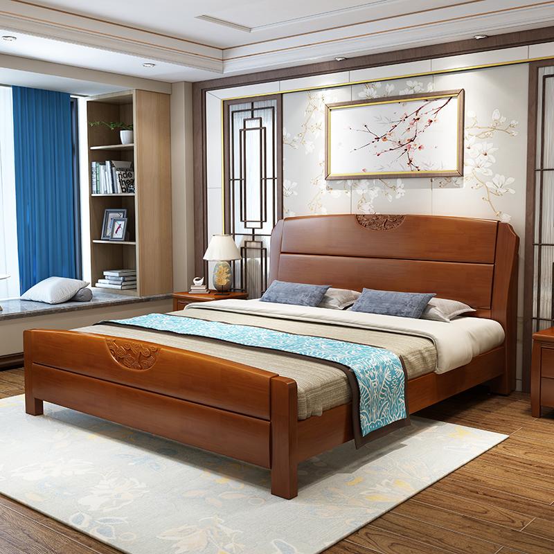 特价全实木床1.8米橡木双人床现代新中式家具高箱储物1.5m婚床5包