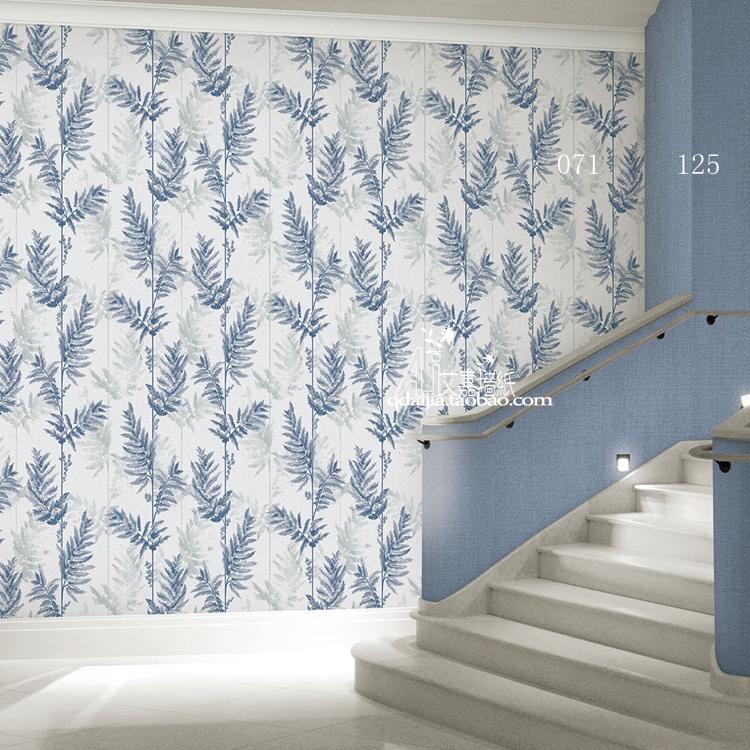 韓國壁紙大卷北歐簡約美式田園植物墻紙抗霉藍綠米白純色布紋壁紙