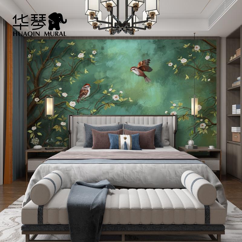 新中式電視背景墻壁紙祖母綠墻紙墨綠色油畫墻布美式客廳花鳥壁畫