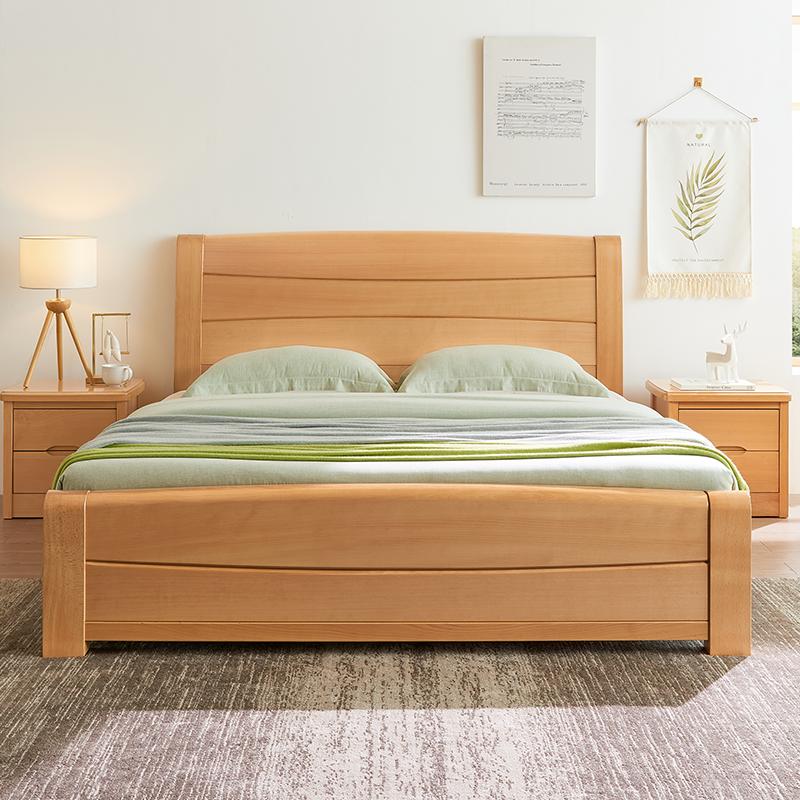 全实木床双人榉木新中式1.8高箱现代简约1.5米床主卧工厂直销原木