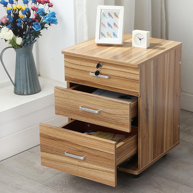 办公文件柜子带锁抽屉资料柜移动落地矮柜桌下活动柜储物柜床头柜