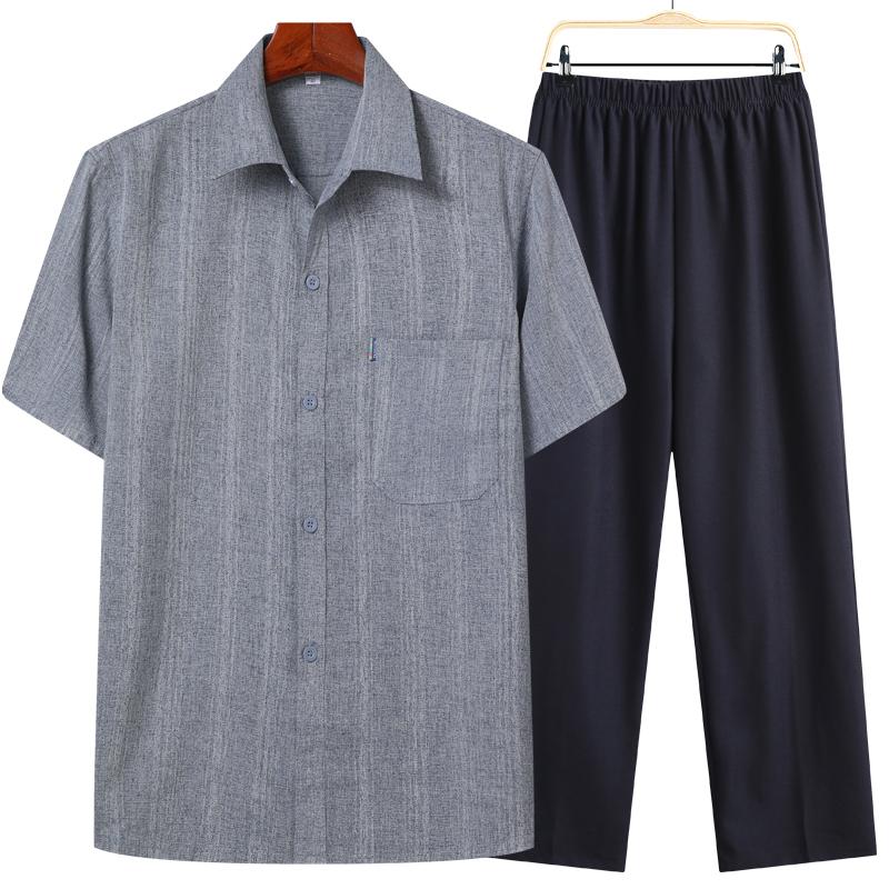夏季中老年人衬衣男套装爸爸棉麻衬衫爷爷装夏装短袖夏天衣服70岁