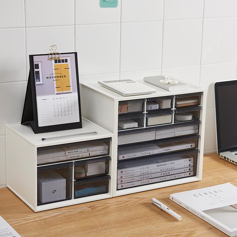 日本IRIS愛麗思桌面化妝品收納盒家用塑料儲物盒辦公抽屜式整理盒
