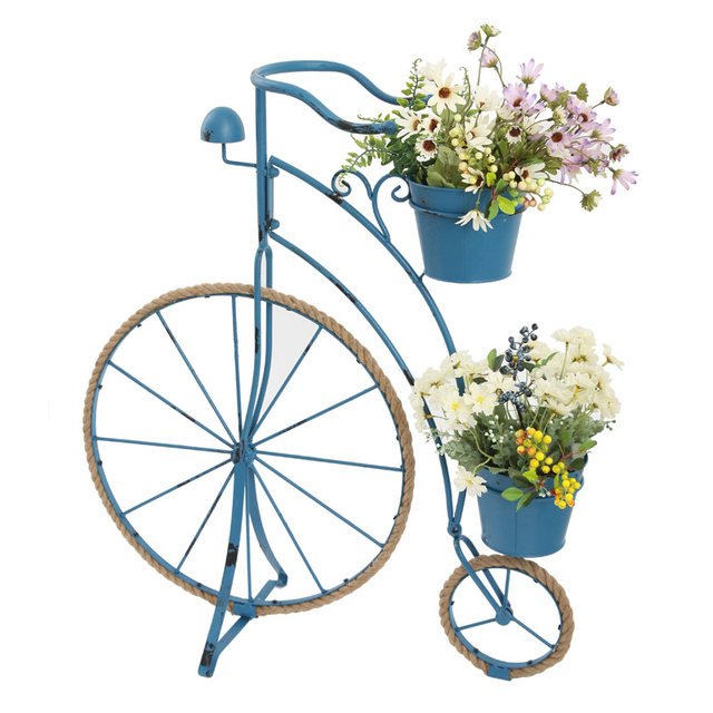 Country retro creative hemp rope wrought bicycle modeling flower stand ornaments gardening home grocery window decoration