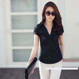 Business Slim Black and White Shirt Blouse Lady V-neck Casual Work Professional Wear Formal Short Sleeve Summer Shirt