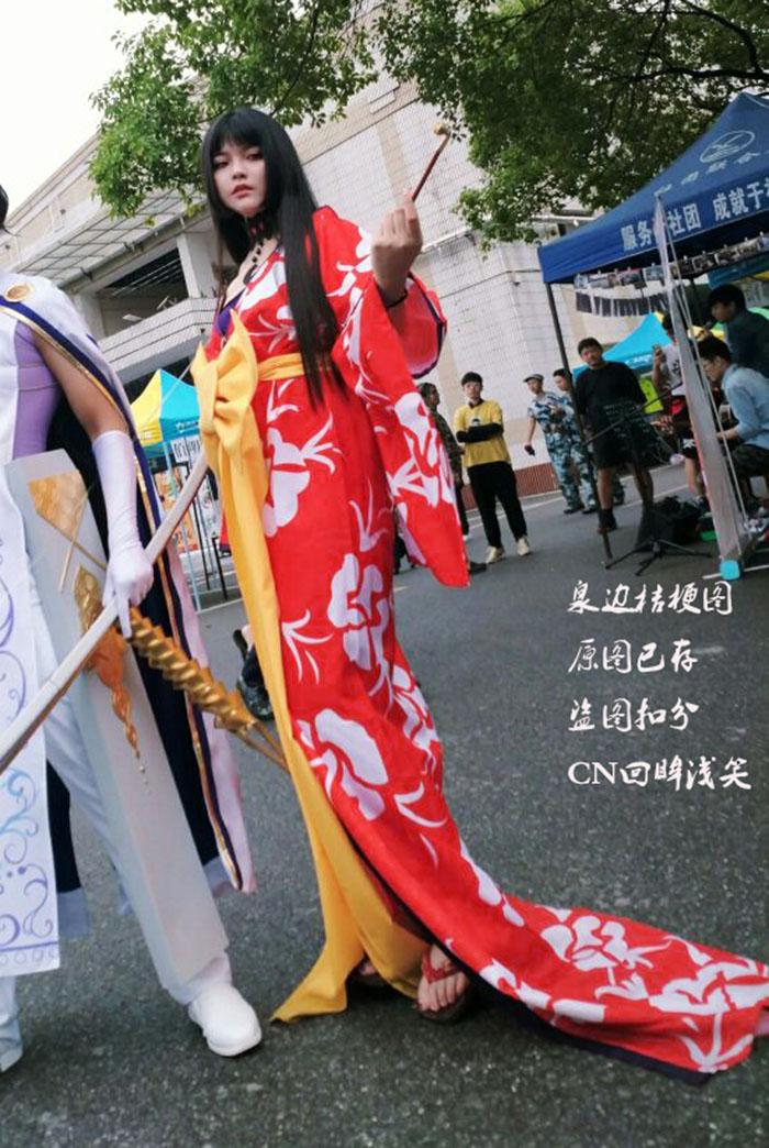 四月一日壹原侑子印白花cosplay拖地和服项链首饰烟斗裹胸假发
