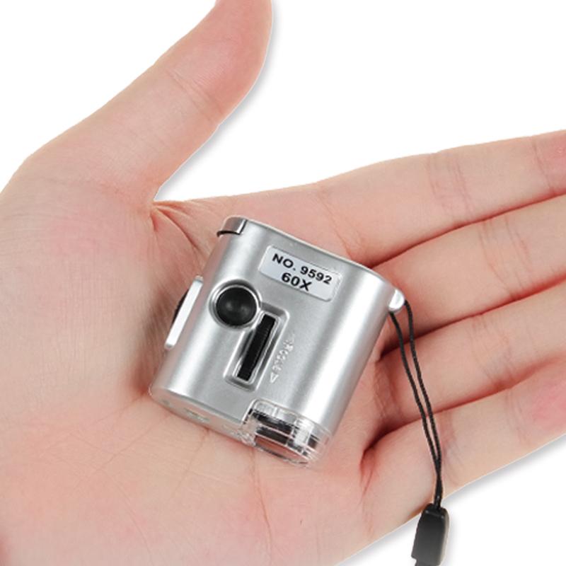 60倍放大鏡帶LED燈高顯微鏡清集郵珠寶茶葉煙郵票鑑定驗鈔行動式