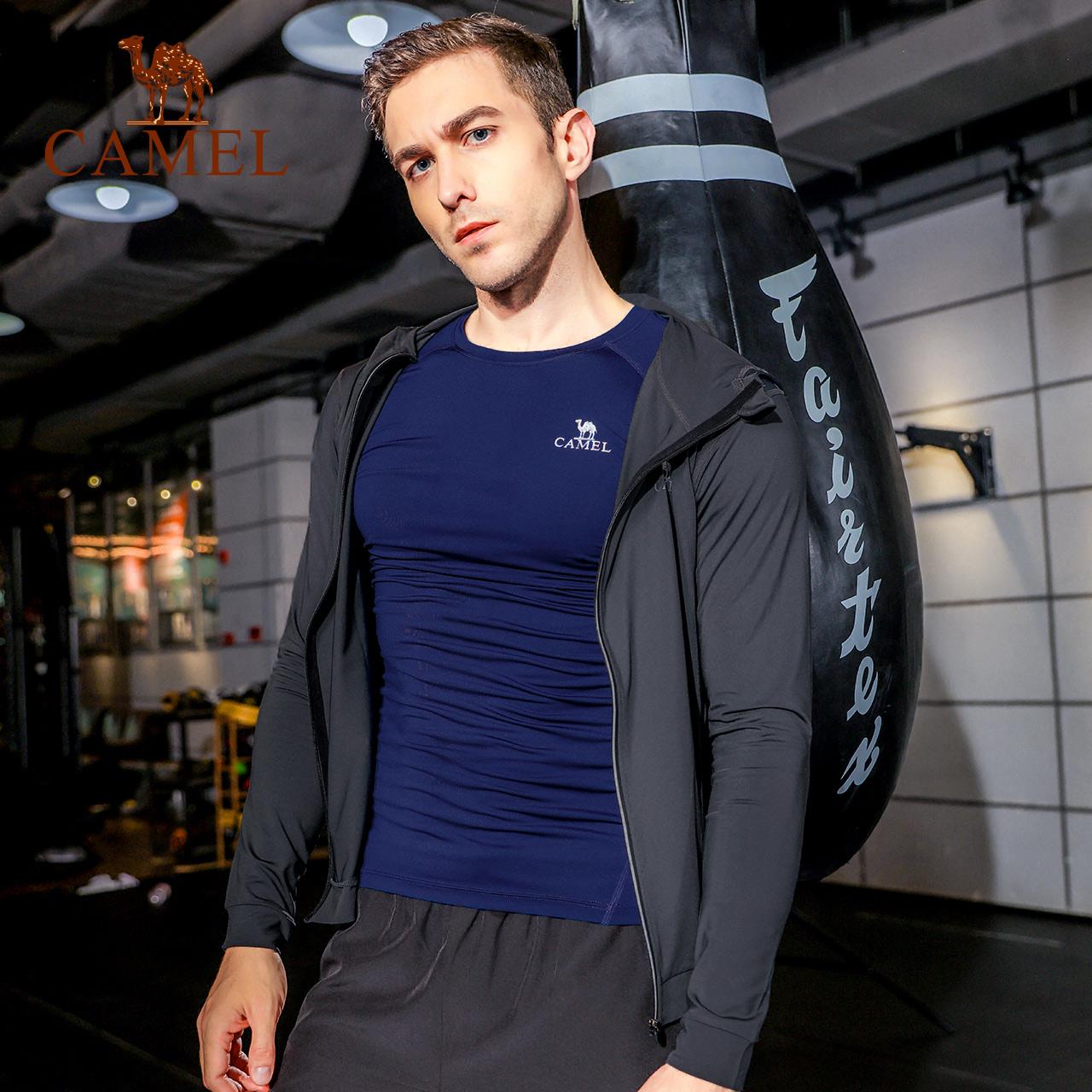 骆驼健身服男套装晨跑健身房运动紧身衣速干衣夜跑训练夏季跑步服