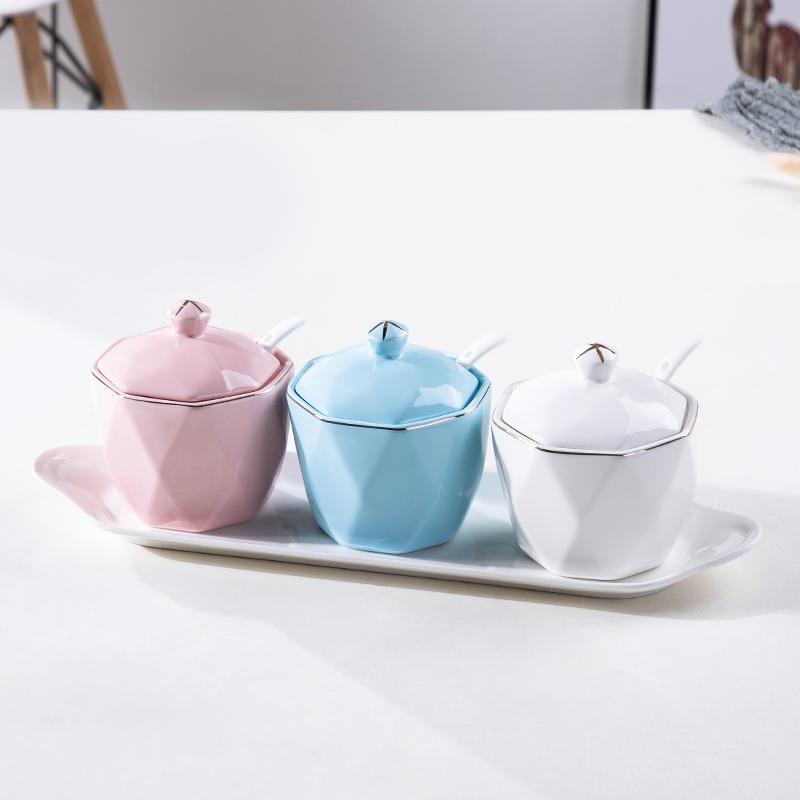 调味罐陶瓷四件套家用套装北欧简约轻奢厨房用品盐罐塘罐味精罐【图2】