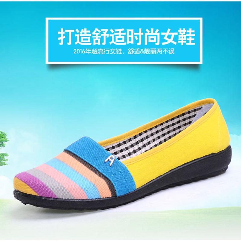 天天特价老北京女布鞋驾车鞋透气平跟帆布鞋浅口单鞋软底一脚蹬春