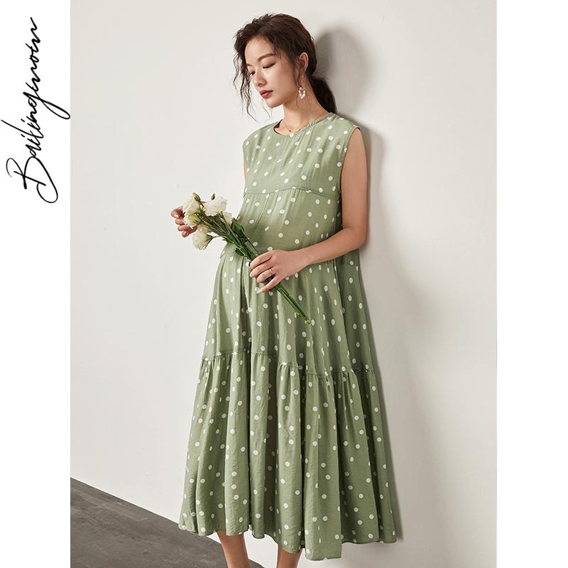 辣妈夏天波点裙子个性夏季长裙