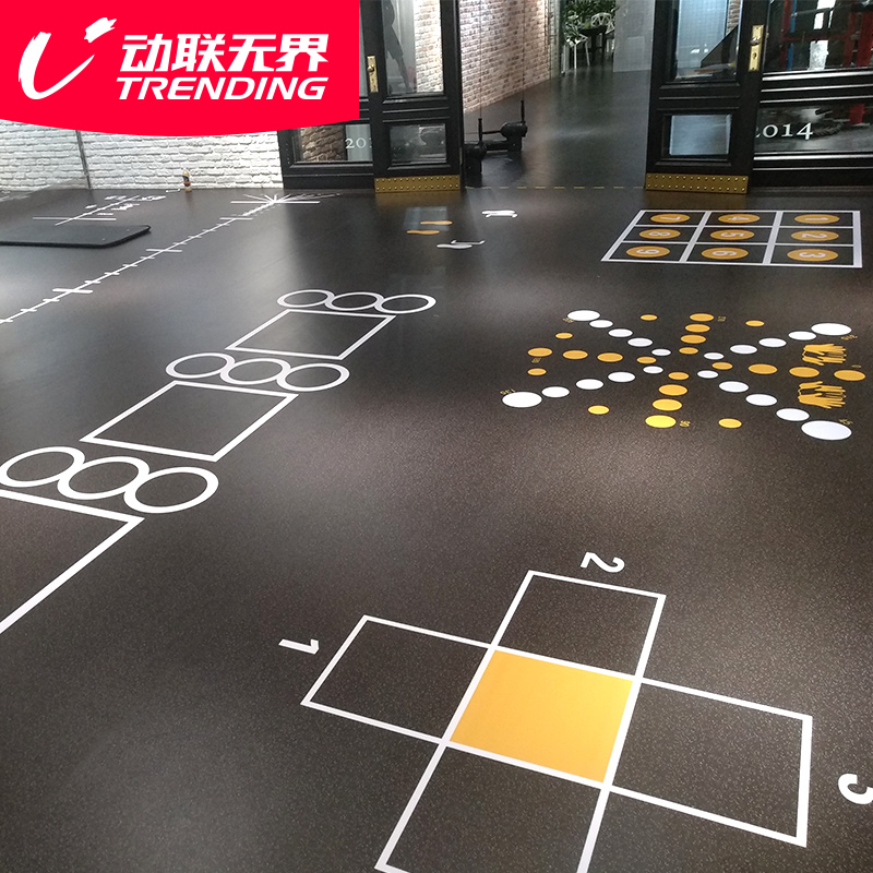 健身房地垫私教地胶PVC塑胶地板360私教图案定制健身工作室地胶垫