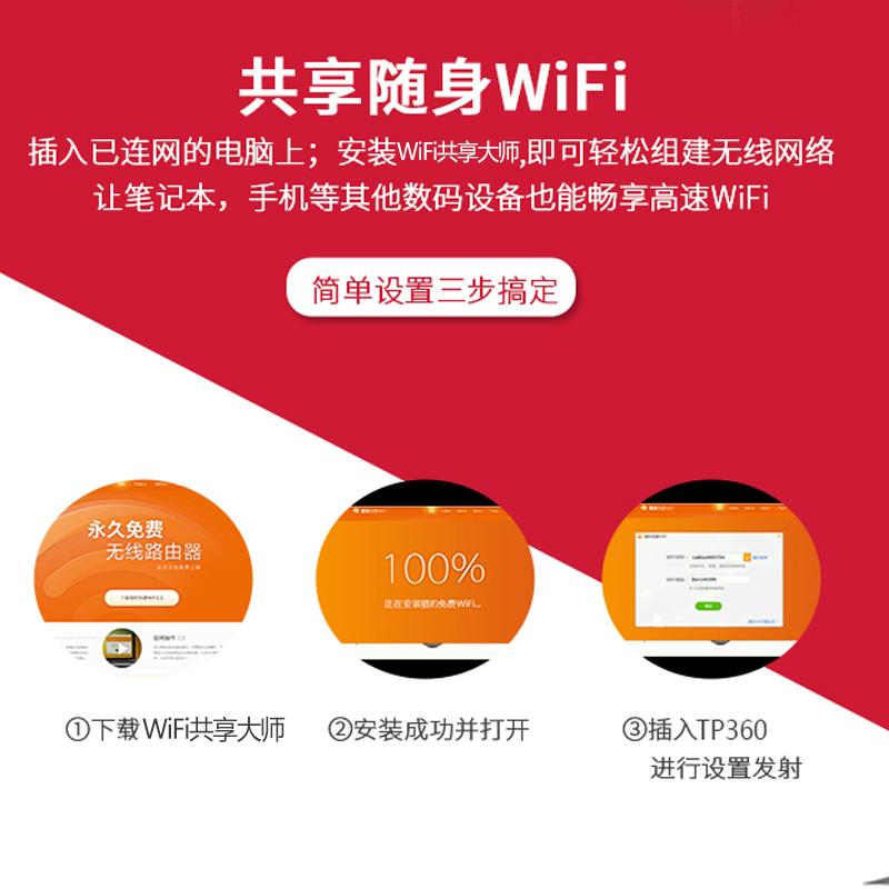 摩承TP360随身WIFI免驱动USB无线网卡 台式机笔记本电脑信号发射AP手机热点WI-FI接收器迷你外置无限接受网络
