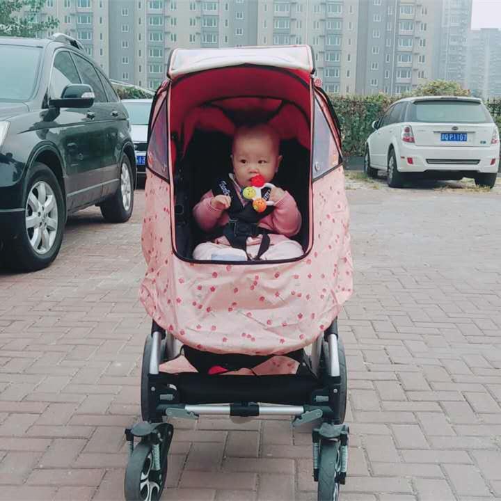 韩国婴儿推车防风防雨罩通用 透气 手推车伞车罩 童车蚊帐雨罩