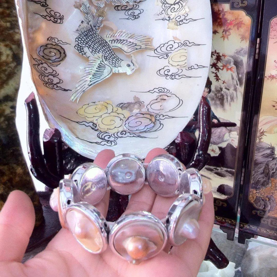 歐美時尚百搭簡約氣質菱形圓形巴洛克珍珠手鍊天然貝殼海螺