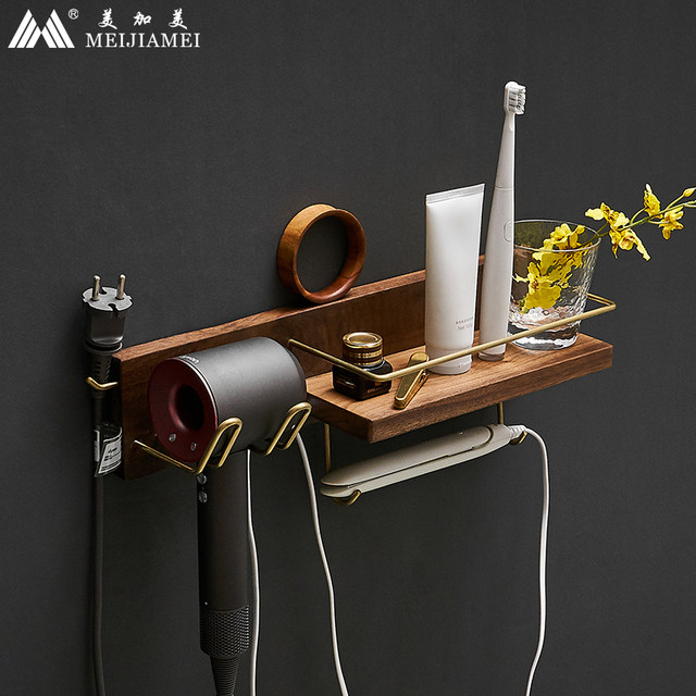 Light copper luxury wood bathroom shelf rack toilet hair under suitable Daisen Song housing wall puncturing Free