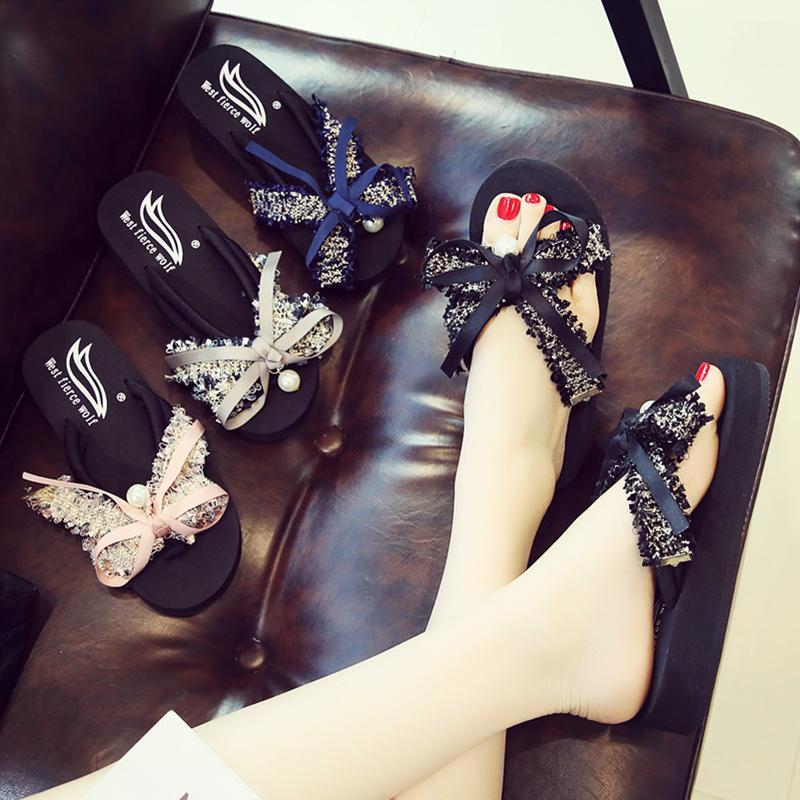 凉拖鞋女夏季外穿人字拖平跟小清风蝴蝶结厚底时尚韩版沙滩鞋海边
