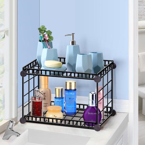 简易组装铁网创意组合多功能折叠洗漱间置物架浴室面盆架收纳架