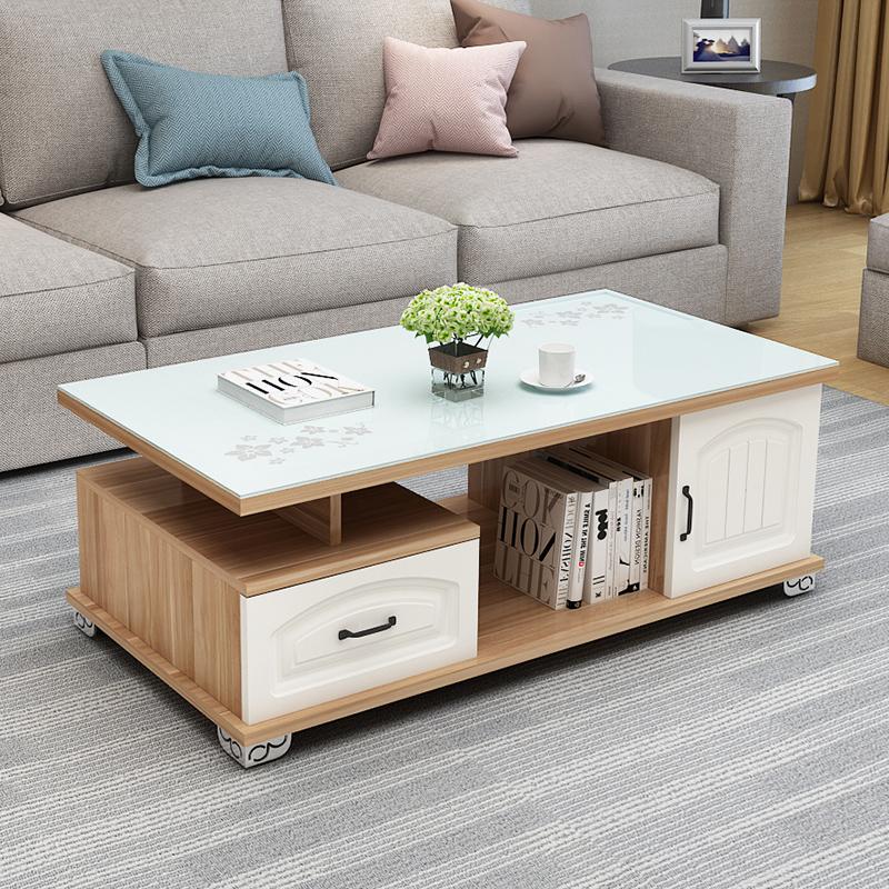 茶几简约现代客厅钢化玻璃小户型欧式客厅电视柜组合小茶几茶桌子