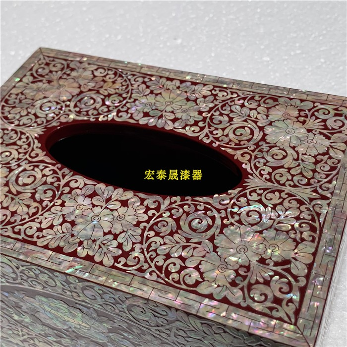平遥高档漆器镶嵌鲍鱼贝壳纸巾盒    中式古典    别墅装饰品