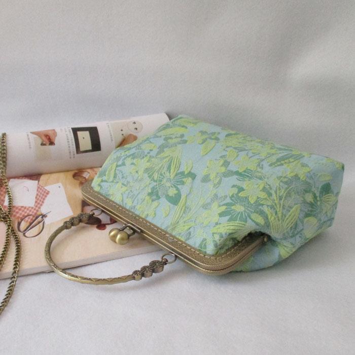 原创复古diy布艺手工绿色提花布料斜挎单肩口金包材料女包手提包