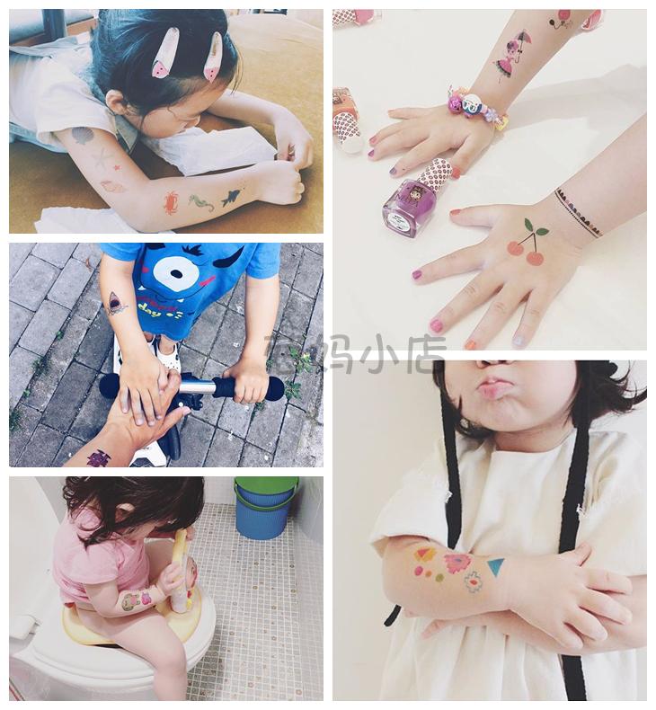 包邮现货法国Tattoofab儿童纹身贴贴画男孩女孩防水无毒安全贴纸