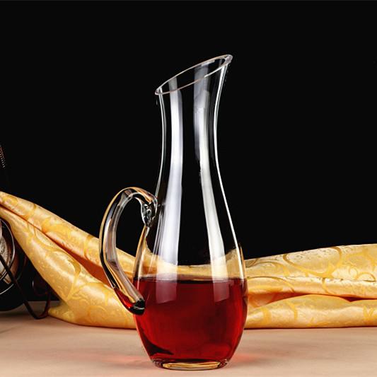 包邮无铅玻璃醒酒器带把红酒葡萄酒家用分酒器个性红酒壶欧式