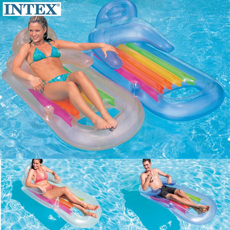 正品INTEX58802水上充氣浮排浮床衝浪躺椅漂流游泳圈成人加厚包郵